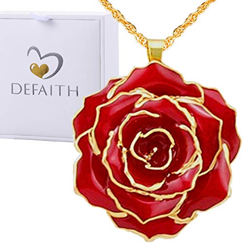 DEFAITH Real Rose Pendant Necklace 24K Gold Dipped, Best Gifts for her Wife Girlfriend Mother Women for Anniversary Valentines Day Birthday Red, Classic Rose