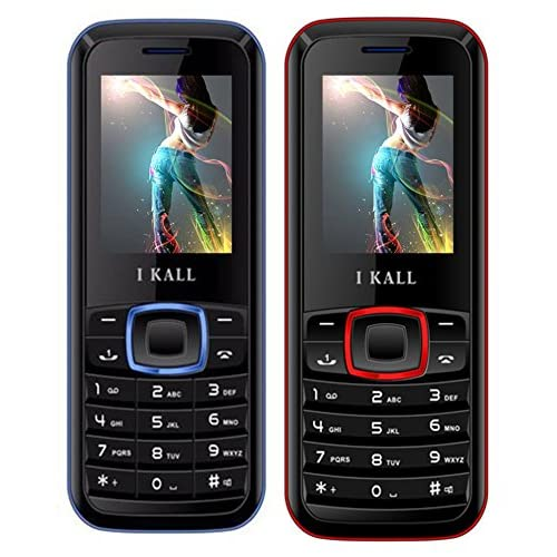 IKALL Dual Sim Calling Mobile K19 Red With K19 Blue Combo