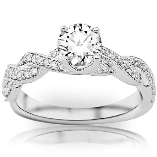 0.65 Carat Round Cut Twisting Designer Eternity Love Split Shank Diamond Engagement Ring With Milgrain (D-E Color, I2 Clarity) by Houston Diamond District (Image #1)