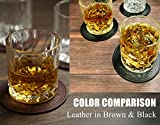 BEST FAUX LEATHER Coasters For Drinks, Twin Bundle