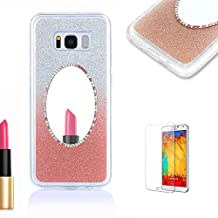 For Samsung Galaxy S7 Case with Free Screen Protector,Funyye Crystal Glitter Ultra Slim Rose Gold Gradual Colour Changing Makeup Mirror Frame with TPU Soft Silicone Rubber Gel Bumper Case Cover