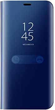 Funda Samsung Galaxy S8 Edge Inteligente Case, Fecha/Hora Clear View Espejo Brillante Flip Cover para Galaxy S8 Plus (Samsung Galaxy S8 Plus, Azul): Amazon.es: Electrónica