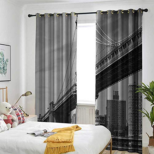 (one1love New York Grommet Indoor Curtains Bridge of NYC Vintage East Hudson River Image USA Travel Top Place City Photo Art Print Insulated with Grommet Curtains for Bedroom 84
