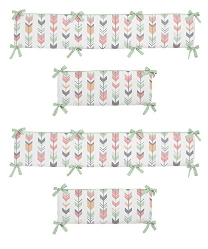 Sweet Jojo Designs Grey, Coral and Mint Woodland Arrow Collection Baby Girl Crib Bumper