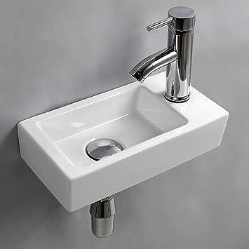 Wall Hung Basin Sink Small Bathroom Sink Rectangle Ceramic Wash Basin Right Hand Right Hand Amazon Com