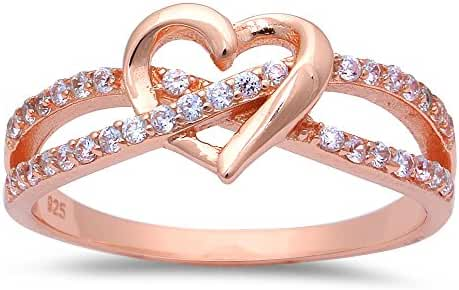 CHOOSE YOUR COLOR Sterling Silver Cubic Zirconia Heart Infinity Ring (Size 3 - 12)