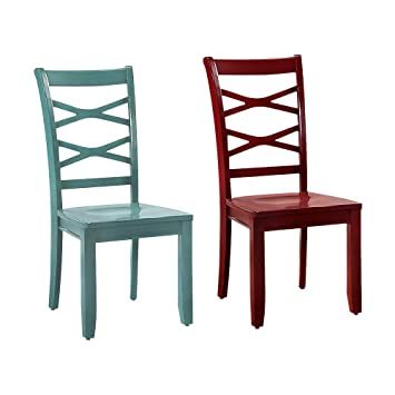Fine Amazon Com Benzara Bm122919 Set Of Two Red And Blue Gamerscity Chair Design For Home Gamerscityorg