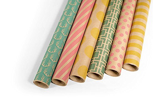 amazon com kraft multi color printed wrapping paper set 6 rolls