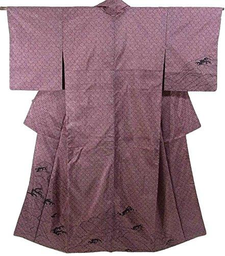 保全血統結果としてリサイクル 着物 訪問着  大島紬 波濤文 正絹 袷 裄63.5cm 身丈157cm
