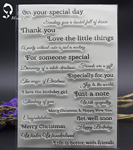 15X21cm Clear Stamp scrapbooking stamp wish letters greeting happy birthday album Card embossing roller transparent stamp (Card Making Christmas Greeting)