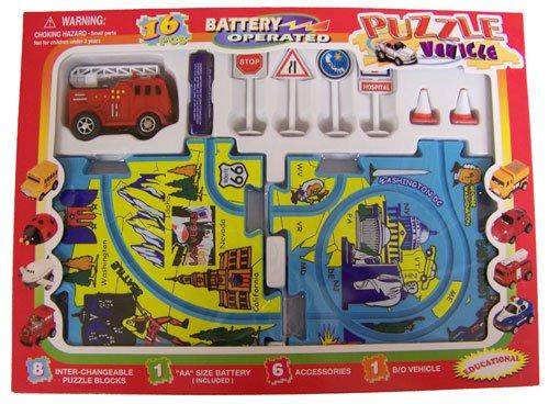 Puzzle Vehicle Playset B/O Fire Truck Car (16pcs)