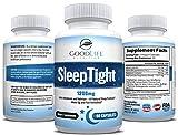 SleepTight All Natural Sleep Aid Pills Made with Valerian, Chamomile, Passionflower, Lemon Balm, Melatonin & More! - Sleep Well, Wake Refreshed - Non Habit Forming Sleep Supplement - 60 Veggie Caps