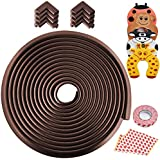 Besego Edge & Corner Guards Set, 24.36Ft [23Ft Edge + 8 Corner] Safety Furniture Bumper with 4Pcs Foam Door Stopper for Table, Stair, Cabinet, Countertop(Brown)