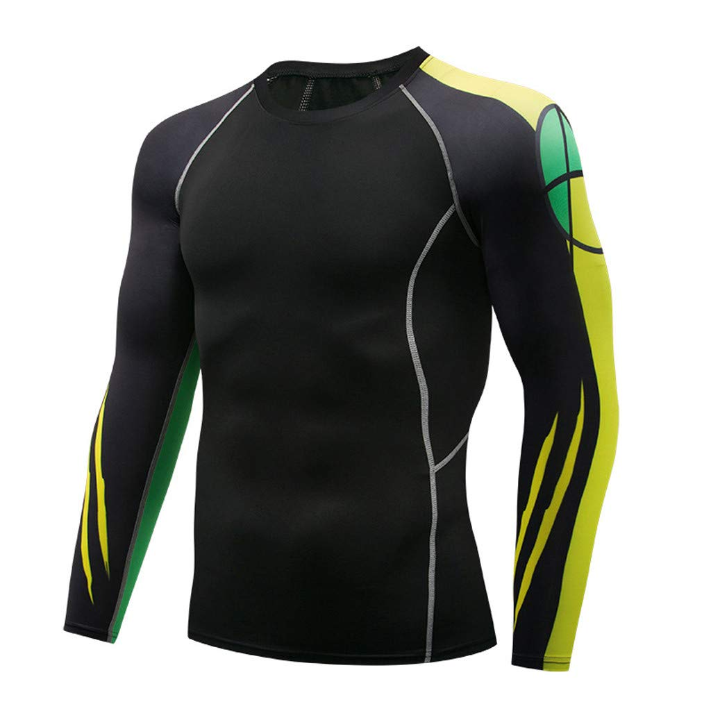Jiayit Men Fitness T-Shirt Fast Drying Elastic Tops Pants Sports Compression Suit