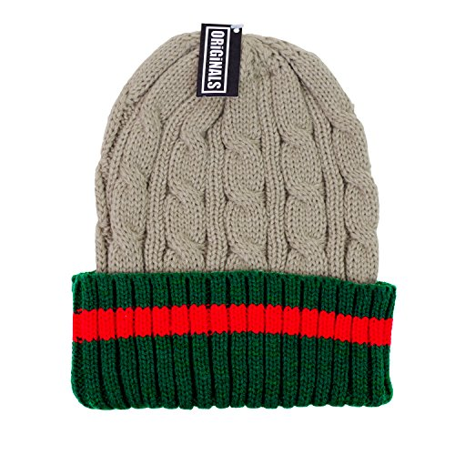 - Originals Beanie Ribbed Cable Knit Red Green Stripe Cuff Ski Snow Warm Winter Unisex Beany (Beige)