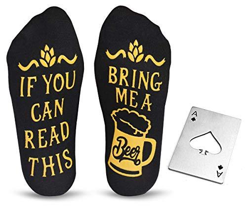 Cavertin Men's Beer Lover Gift Set with Novelty Beer Socks and Bottle Opener Black