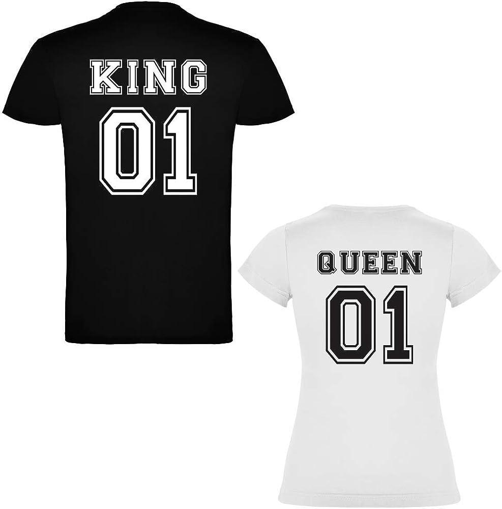 Pack de 2 Camisetas para parejas King 01 y Queen 01 (Mujer Tamaño L + Hombre Tamaño S): Amazon.es: Ropa y accesorios