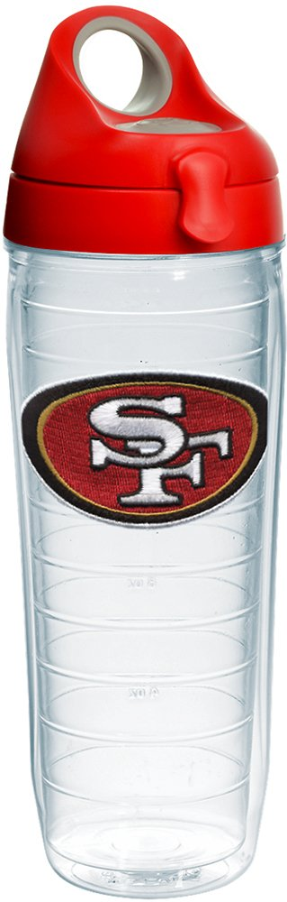 Tervis 1231151 NFL San Francisco 49ers Primary Logo Tumbler with Emblem and Red with Gray Lid 24oz Water Bottle, Clear