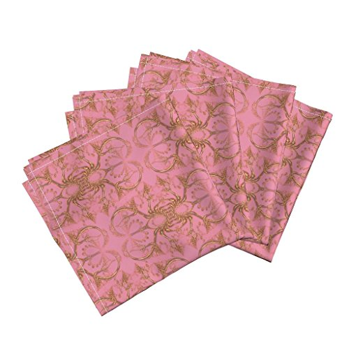 (Roostery Filigree Linen Cotton Dinner Napkins Frilly Fake Gold Hearts On Pink by Eclectic House Set of 4 Cotton Dinner Napkins)