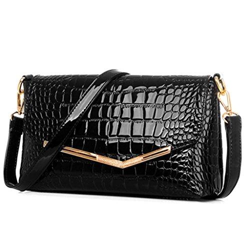 Crocodile Print Patent Bag - Katoony Womens Patent Leather Crocodile Grain OL Shoulder Handbag Crossbody Bag Purse with Clutch