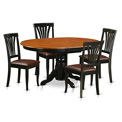 East West Furniture AVON5-BLK-LC 5-Piece Dining Table Set, Black/Saddle Brown Finish ()