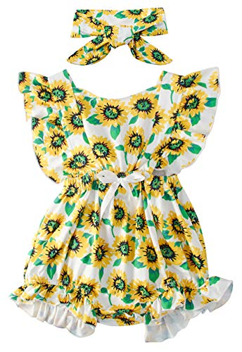 Infant Toddler Newborn Baby Girl Floral Sunflower Daily Wear Romper Playsuit Autumn Fall Simple Cozy Ruffle Sleeve Cross Back Strap Bodysuit Jumpsuit Clothes with Headband,2Pcs, 6-12 Months