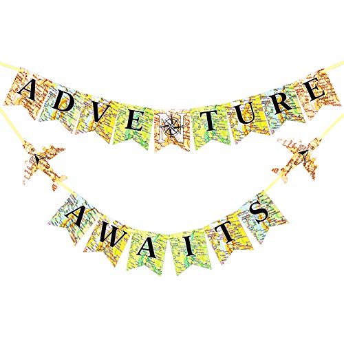 BUSOHA Adventure Awaits Banner - Bon Voyage Travel Themed Flag World Map Pennant for Retirement/Baby Shower/Graduation/Relocation/Wedding/Bachelorette/Farewell/Career Change/Birthday/World Party Decorations]()