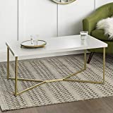 WE Furniture AZF42LUXWMG Mid Century Modern Rectangle Coffee Table, 42 Inch, White Marble, Gold
