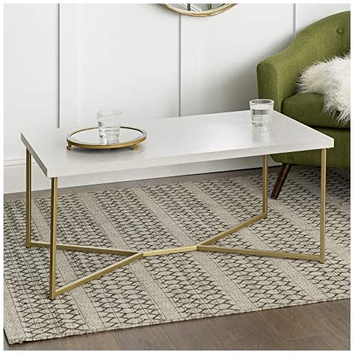 Living Room Walker Edison Marble Gold Mid Century Modern Rectangle Coffee Table modern coffee tables