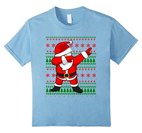 Kids Dabbing Santa Claus Ugly Sweater T-Shirt | Christmas Shirt 12 Baby (Blue Santa Claus)