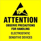 Ship Now Supply SNDL1369 Tape Logic Labels, ''Attention - Observe Precautions'', 2'' x 2'', Fluorescent Yellow/Black (1 Roll of 500 Labels)