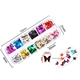 12 Colors Butterfly Glitter Nail Sequins - 3D