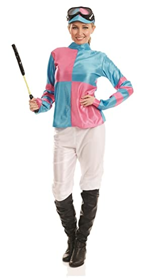 Adults Full Jockey Navy Blue Light Pink Grand National Fancy Dress Costume