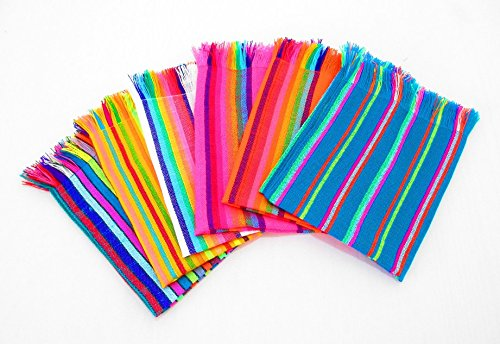 Mexican Napkins, Bulk Set of 6. Assorted Colors, Fiesta Decor, Woven Napkins, Boho Chic Linens, Hippie Decor, Tribal Kitchen, Gift for Her, Modern Mexican Decor, Aztec Home Decor by MexFabricSupplies