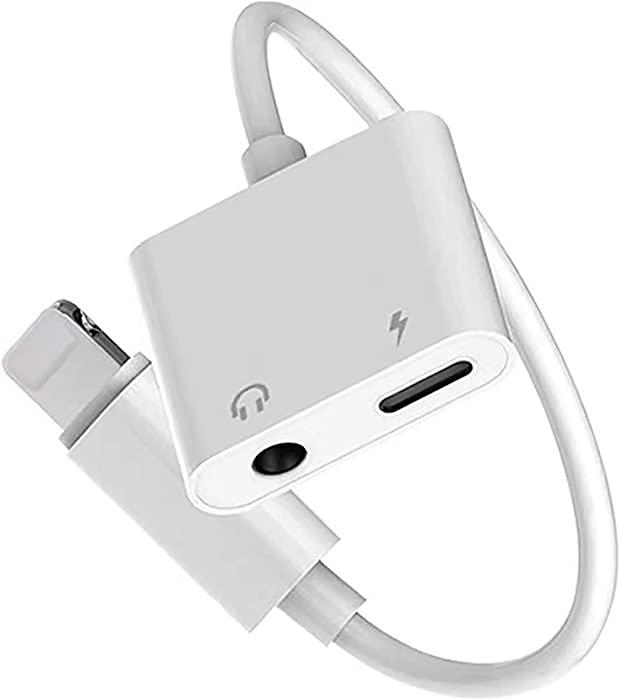 ?Apple MFi Certified? iPhone Headphone Adapter Dongle Charger Jack AUX Audio 3.5 mm Adapter Compatible for iPhone 7/7Plus/8/8Plus/X/XS/XR/10/XS 11 MAX Accessory Connector Compatible All iOS Systems