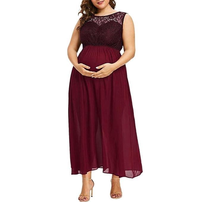 Amphia Ropa Premamá Vestido, Vestido de Gasa de Encaje Maternidad sin Mangas de Enfermería Maternidad