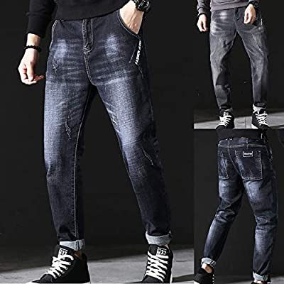 Men's Pencil Jeans Long Slim Fit Straight Stretch Pants Autumn Winter Fashion Casual Harlan Trousers Slacks
