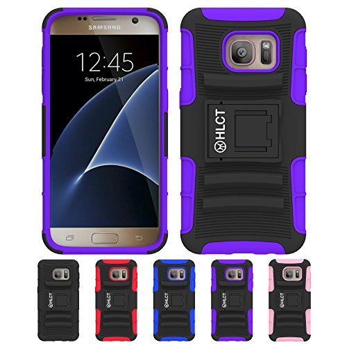 Price comparison product image Galaxy S7 Case, HLCT Rugged Shock Proof Dual-Layer PC and Soft Silicone Case With Built-In Kickstand for Samsung Galaxy S7 (2016) (Purple)