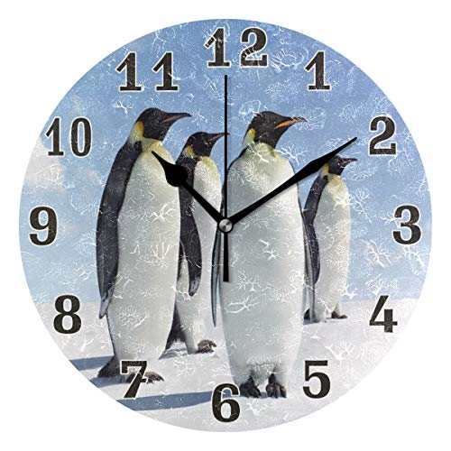 WXLIFE Cute Animal Penguin Print Round Acrylic Wall Clock, Silent Non Ticking Art Painting for Kids Bedroom Living Room Office School Home Decor