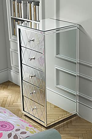 My-Furniture - Cómoda Alta de Espejo con 5 cajones y zócalo ...