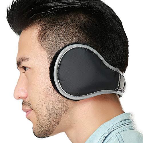 Ear Warmers Waterproof Unisex Adjustable Fleece Earmuffs for Men Women Winter Ear Muffs with Reflective Stripe (Black) (Ear Gorgonz Muffs)
