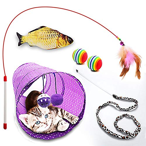 Meowd Diary Cat Toys Variety Pack - Collapsible Cat Tunnel, Interactive Feather Toy, Cat Teaser Wand, Catnip Fish, Rainbow Balls | Cute Cat Toy Assortment for Cat, Kitten, Kitty