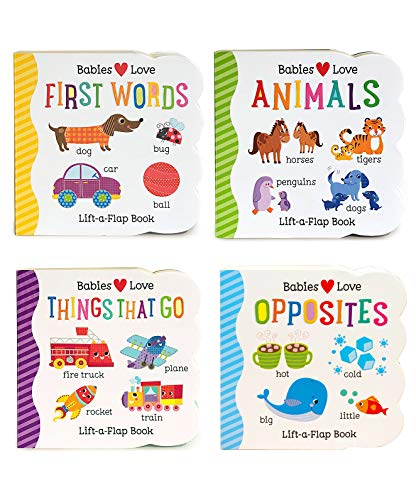 4 Pack Chunky Lift-a-Flap Board Books: First Words/Animals/Opposites/Things That Go (Babies Love) (Top 100 Best Cartoons)