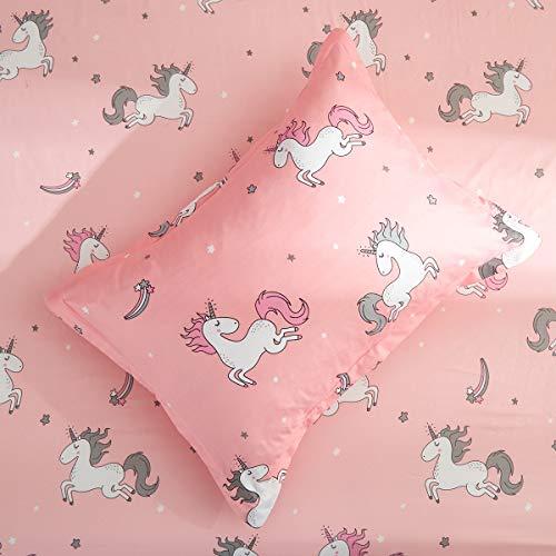 Uozzi Bedding Unicorn 4 Piece Toddler Bedding Set with Rainbow Stars Pink
