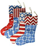 4 Burlap Christmas Stockings Decorations - 4 Pcs Set Print Fireplace Decor Large