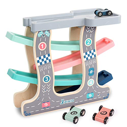 Wooden Race Track Car Ramp Racer with 4 Mini Cars for Toddler Boys and Girls Age 1 2 3 Years and Up Classic Early Development Vehicle Playset Toy