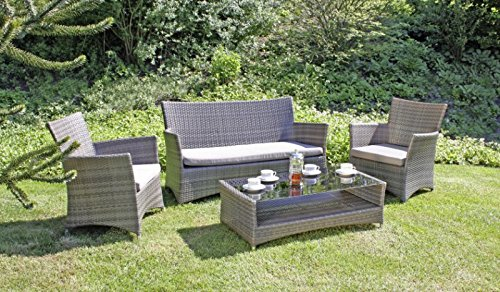 garten lounge gruppe tisch 2 sessel sofa inkl auflagen poly rattan dunkelgrau g nstig. Black Bedroom Furniture Sets. Home Design Ideas