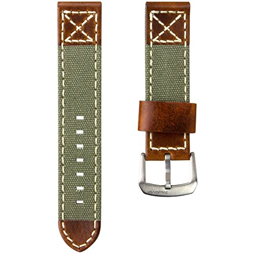 ZULUDIVER Canvas & Italian Leather Watch Strap, Army Green & Vintage Brown, 22mm by ZULUDIVER