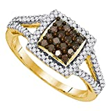 Sonia Jewels Size 7.25-10K Yellow Gold Chocolate Brown & White Round Diamond Halo Circle Engagement Ring - Channel Set Square Princess Center Setting Shape (1/2 cttw.)