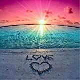 DIY 5D Diamond Painting by Number Kits, Crystal Rhinestone Diamond Embroidery Paintings Pictures Arts Craft for Home Wall Decor, Full Drill Canvas,Sunset Love Heart Beach (LX-161loveZZ-15.7x15.7in)